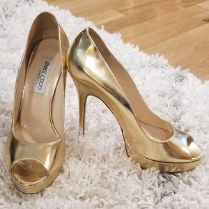 Jimmy Choo gold mirror peep toe heels